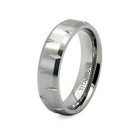 Notched Beveled Edge Titanium Ring (Sizes 7-13)