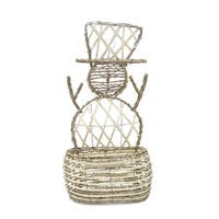 """Pack of 2 Ivory and White Snowman Shaped Decorative Baskets 23.25"""""""