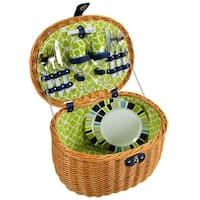 Picnic at Ascot Ramble Lined Picnic Basket with Service for 2 - Trellis Green (715-TG)