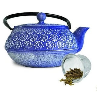 Epoca Pci-4340 Primula's Japanese Blue Floral Cast Iron Teapot
