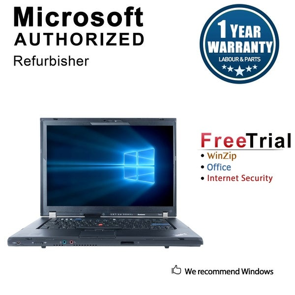 "Refurbished Lenovo ThinkPad T500 15.4"" Laptop Intel Core 2 Duo P8400 2.26G 4G DDR3 160G DVD Win 7 Pro 64 1 Year Warranty - Black"