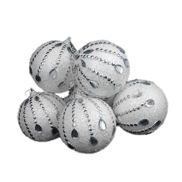 6 December Diamonds White Glittered Shatterproof Christmas Ball Ornaments 3.75""