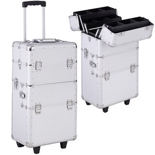 Gymax Silver Aluminum Rolling Makeup Case Salon Cosmetic Organizer Trolley Train Case