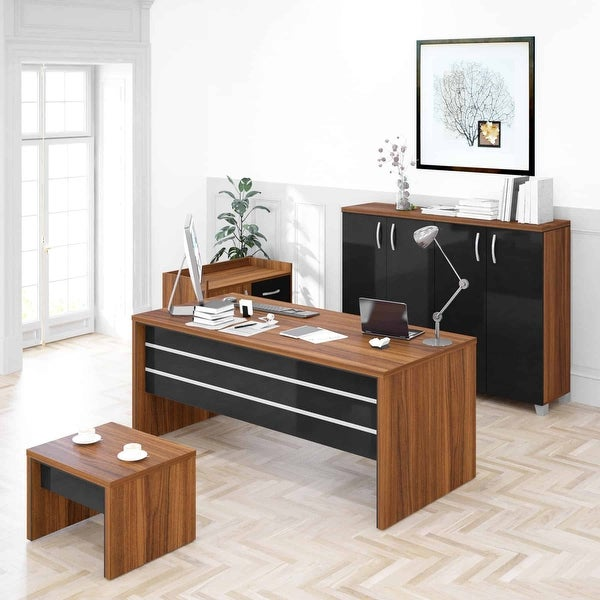 """Lexus 71"""" Black and Brown 4 Piece Desk Home Office Suite Furniture Set. Opens flyout."""