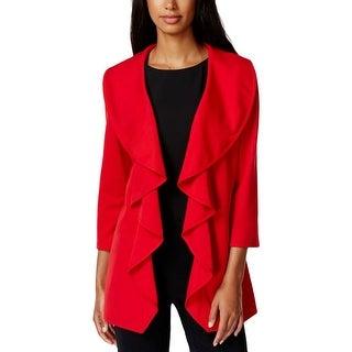 Calvin Klein Womens Petites Open-Front Blazer Ponte Ruffled