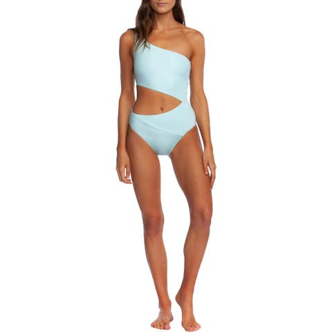 BCBG Max Azria Womens One Shoulder Cut-Out One-Piece Swimsuit