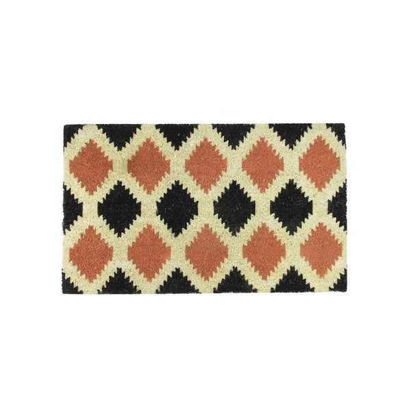 "Black Burnt Orange and Cream Coir Tribal Outdoor Rectangular Door Mat 29.5"" x 17.75"""
