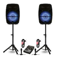 "Technical Pro PB15PKG Bluetooth 15"" Active Speakers Batteries Mixer Mics Stands"