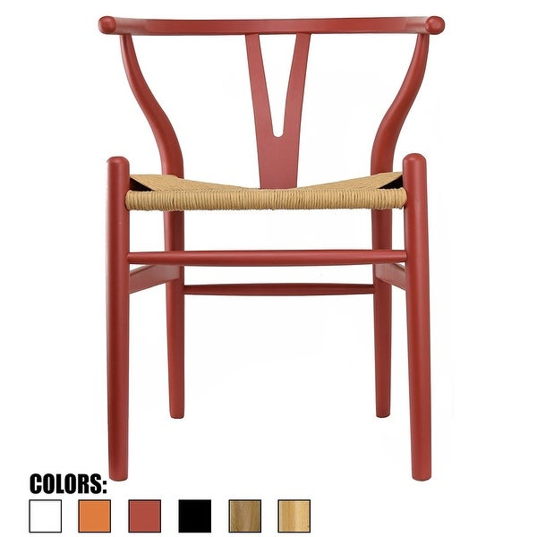 2xhome Red Wishbone Modern Style Wood Armchair - Dining Room Chair with Natural Papercord Woven Seat