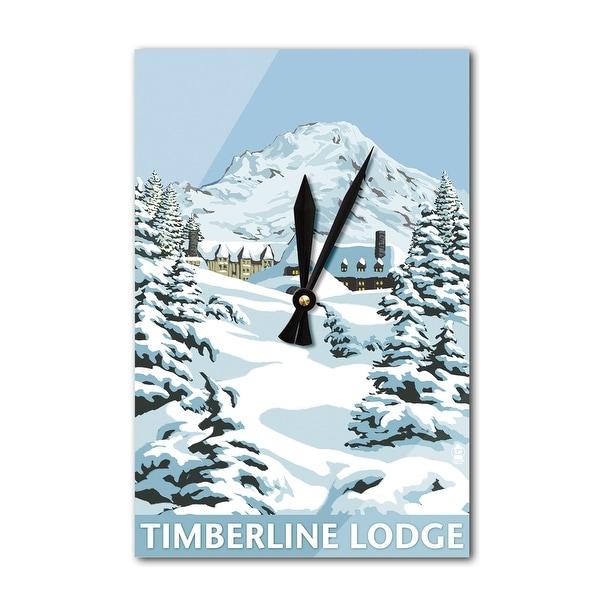 Mt Hood, OR - Timberline Lodge Winter - LP Artwork (Acrylic Wall Clock) - acrylic wall clock