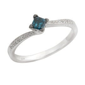 Brand New 0.10ct Princess Cut Blue Color Diamond with Diamond Engagement Ring