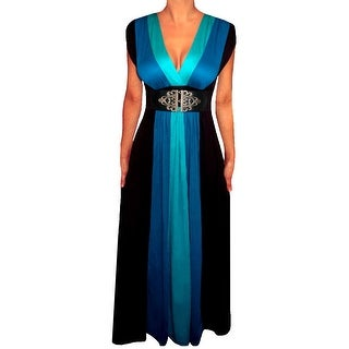 Funfash Plus Size Women's Blue Black Block Long Maxi Dress Made in USA