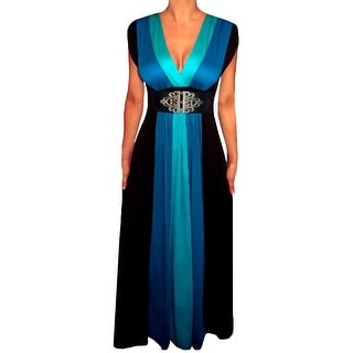 Funfash Plus Size Clothing for Women Blue Black Slimming Block Cocktail Maxi Dress