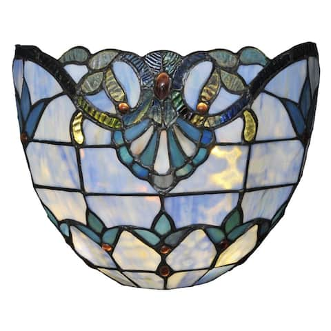 Copper Grove Mosa 8-inch Stained Glass Cordless LED Wall Sconce