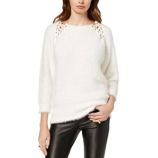 XOXO Womens Juniors Pullover Sweater Lace-Up Ribbed Trim - L