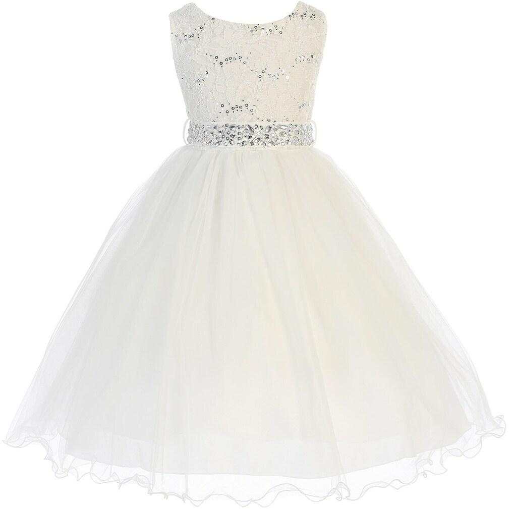78cb76fe855fa Shop Flower Girl Dress Glitter Sequin Top & Rhinestone Sash Ivory JK 3670 - Free  Shipping Today - Overstock - 16743188