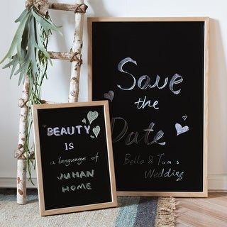 RusticReach Black Magnetic Chalk Board with Solid Wood Frame
