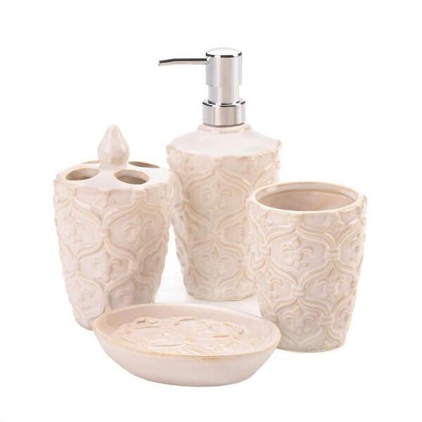 Fleur-De-Lis Bath Accessory Set