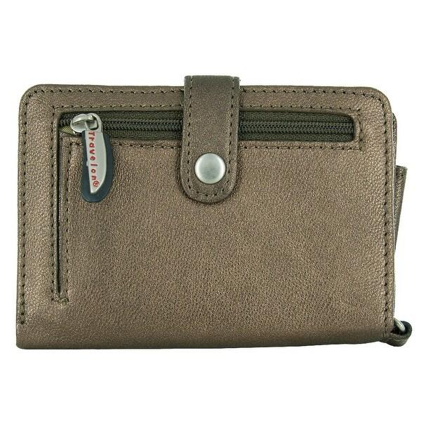 Travelon Leather Wallet/Wristlet in One (Bronze)