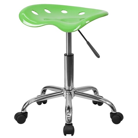 Delacora FF-LF-214A 17 Inch Wide Metal Swivel Seat Stool with Tractor Seat - N/A