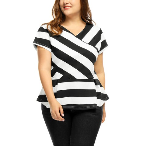 Allegra K Women's Plus Size Striped V Neck Top