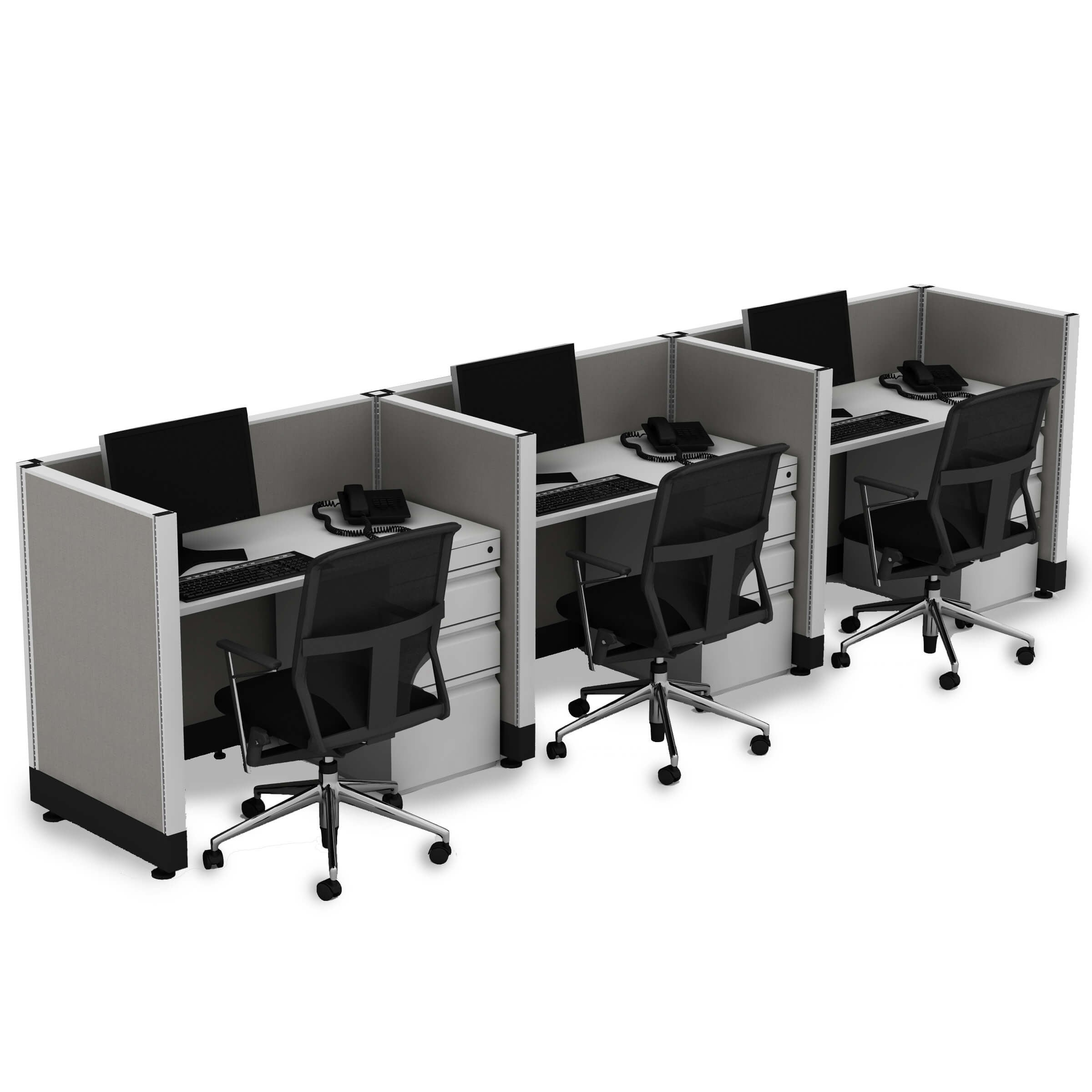 Small Office Cubicles 39H 3pack Inline Unpowered (2x3 - Walnut Desk White Paint - Assembled)