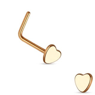 Heart Top 316L Surgical Steel L Bend Nose Ring (Sold Individually)