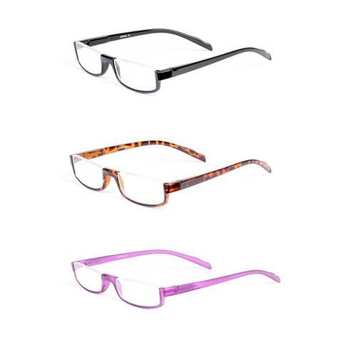 Half Rim Rectangle Reading Glasses 3 Pack Spring Hinge