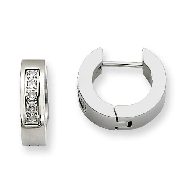 Chisel Stainless Steel CZ Polished Round Hinged Hoop Earrings