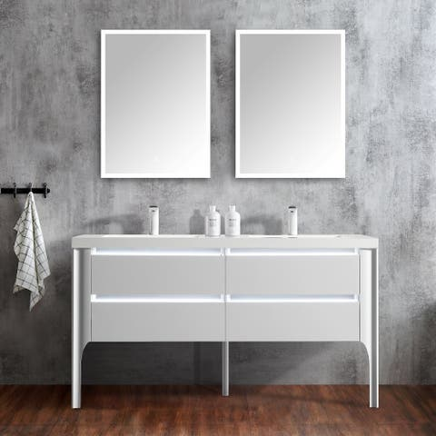 "Willa 60"" Double Bathroom Vanity Set with LED Lights"
