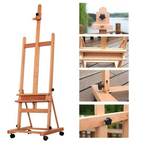 360-Degree Spinner Wheel Red Beech Wood Rolling Easel - 48.03' Height