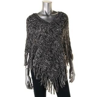 John Paul Richard Womens Knit Fringe Poncho Sweater