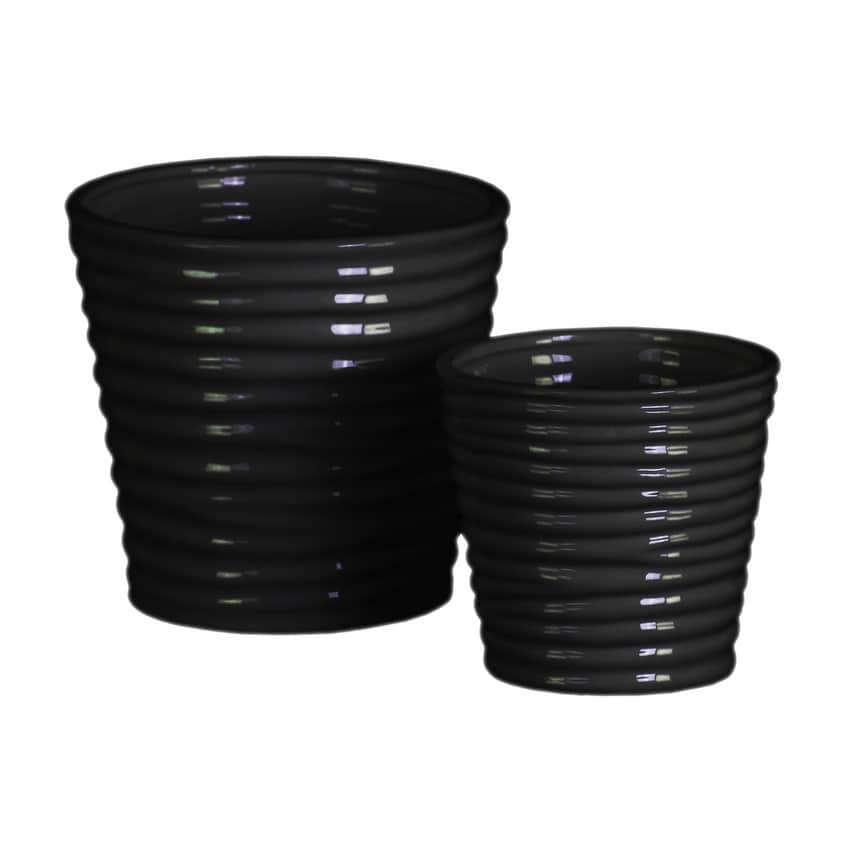Horizontally Ribbed Patterned Ceramic Vase With Tapered Bottom, Set of 2, Black