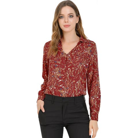 Women's Pleated V-neck Long Sleeve Floral Faux Pocket Shirt Blouse