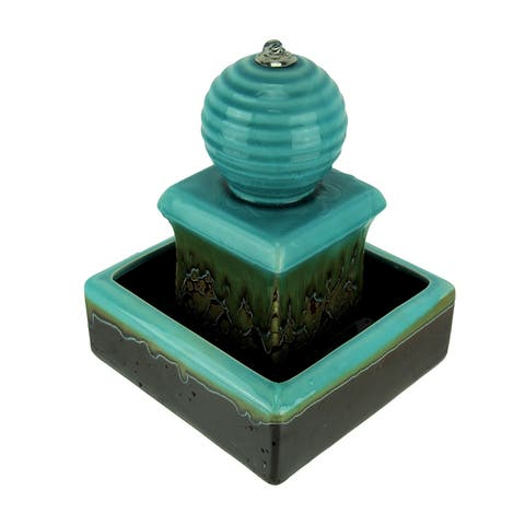 3 Tier Orb Top Square Ceramic Water Fountain - 11.5 X 9 X 9 inches