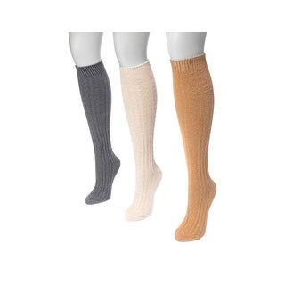 Muk Luks Socks Womens Knee High Cable Knit 3 Pack One Size 0023367 - One size
