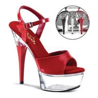 Pleaser Women's Captiva 609 Red/Clear