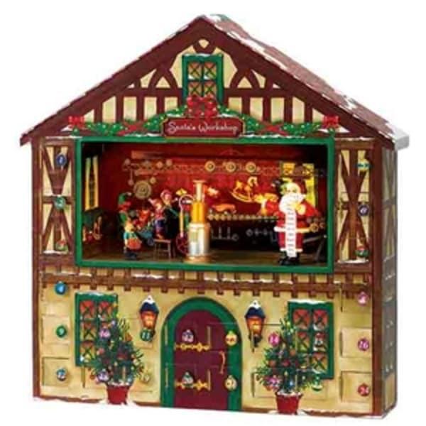 "18.5"" Mr. Christmas Animated & Musical Santa's Workshop Advent Calender House #23963"