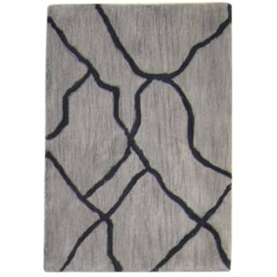 One of a Kind Hand-Tufted Modern 2' x 3' Abstract Wool Grey Rug - 2' x 3'