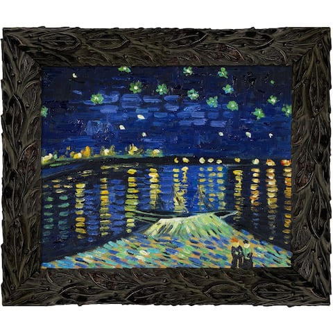 """La Pastiche Starry Night Over The Rhone with Feathered Ebony Frame, 11.24"""" x 13.24"""""""