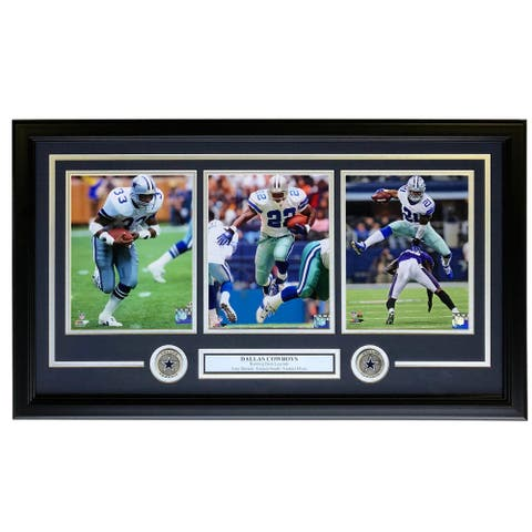 Dorsett Smith Elliott Framed 31x19 Dallas Cowboys 8x10 Photo Collage