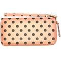 Polka Dot Wristlet Clutch Wallet With Wrist Strap, Coral Pink - Medium - Thumbnail 0