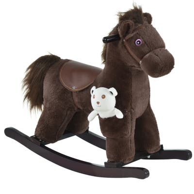 Qaba Kids Plush Ride-On Rocking Horse with Bear Toy, Children Chair with Soft Plush Toy & Fun Realistic Sounds