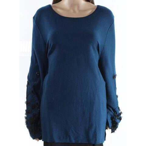 Alfani Blue Womens Size XL Embellished Sleeve Boat Neck Sweater