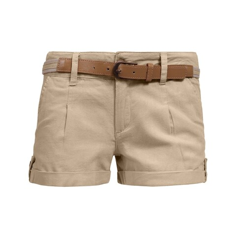 NE PEOPLE Womens Mid Rise Comfy Fitted Cuffed Hem Casual Shorts w/Belt