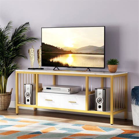 """55"""" TV Stand and 2-drawer for TVs Up to 60"""", Faux Marble Veneer"""