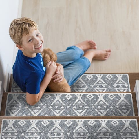 """SussexHome Hairband Design 9"""" X 28"""" Stair Treads - 70% Cotton Anti-Slip Carpet Strips for Stairs-with Double Adhesive Tape"""