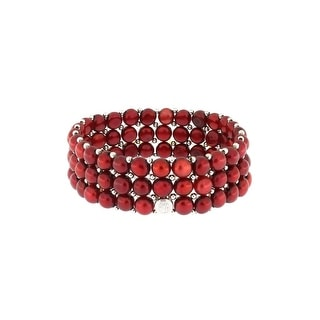 D'AMA Women's Pearl Bracelet - Easy-On Stretch Single Strand Bracelet With Stainless Steel Spacer Beads