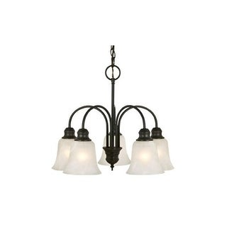 """Design House 51932 Ridgeway 5 Light 21"""" Wide Chandelier with Etched Glass Shade"""