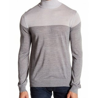 Toscano NEW Gray Mens Size Large L Turtleneck Colorblock Sweater
